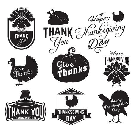 Set van Thanksgiving clip-art. labels, labels en badges met Thanksgiving symbolen. badge of label design template. Stock Illustratie