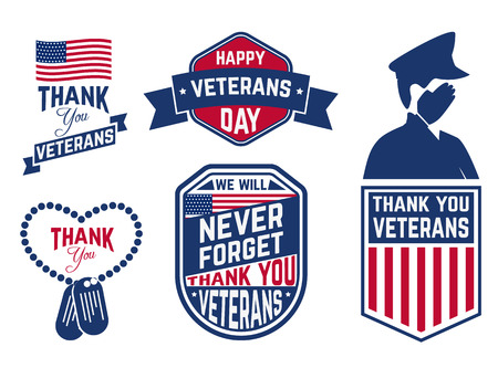 patriotic: Set of Veterans Day labels,stamps and design element. Happy Veterans Day.