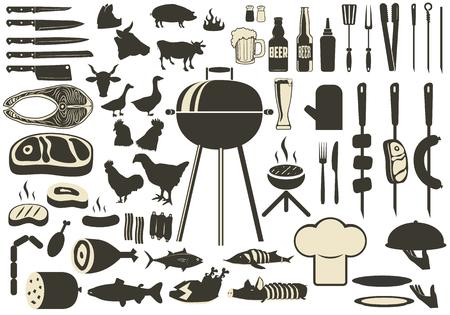 バーベキュー バーベキュー シルエットのセット。グリルした肉や魚、ビール、ケバブ。キッチン ツール シルエット鶏、牛、豚。アイコンをグリル