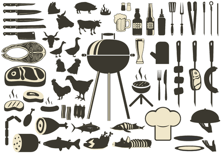 pork meat: Barbecue BBQ Silhouette Set. grilled meat and fish, beer and kebabs. Kitchen tools silhouettes chicken, cows, pigs. Grill icons. Vector illustration