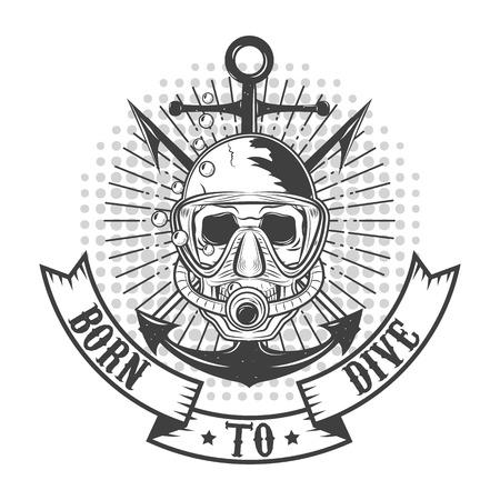 ベクトルのダイバーのロゴ。ダイバーの頭蓋骨。T ショートまたはラベルのデザイン テンプレートです。ベクトルの図。  イラスト・ベクター素材