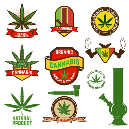 marijuana plant: Set of cannabis labels and badges. cannabis leaf decorative jamaican style stamps. Medical marijuana. Label or badge design template. Illustration