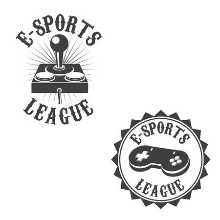 gamer: Set of gamer labels. E-sport league. Label or badge design template. Vector illustration.