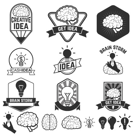 badge vector: Set of idea brain designs badges. Label of representations of creativity, ideas, inspiration, intelligence, thoughts, strategy, memory, innovation, education, learning. Vector label or badge design template.