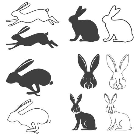 Set van vector silhouet van het konijn, haas. Hare jacht. Konijn silhouetten. Vector illustratie. Stock Illustratie