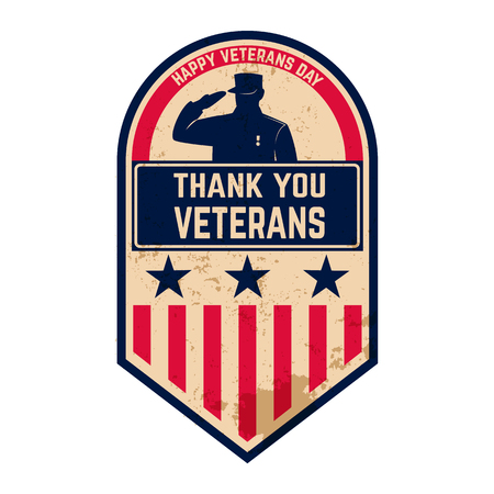 Veterans Day label. Gelukkig Veterans Day. Vector illustratie.