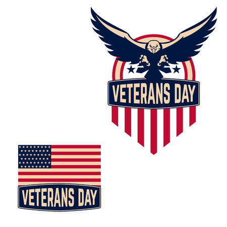 patriotic: Veterans Day label. Happy Veterans Day. Vector illustration.