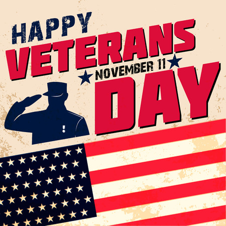 Happy veterans day card template. Vector illustration.