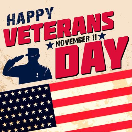Gelukkig veteranen dag kaart sjabloon. Vector illustratie. Stock Illustratie