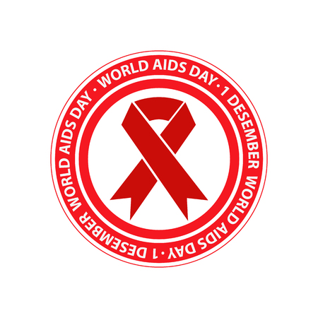 aids: World AIDS Day label template. Stop AIDS.  Vector illustration.