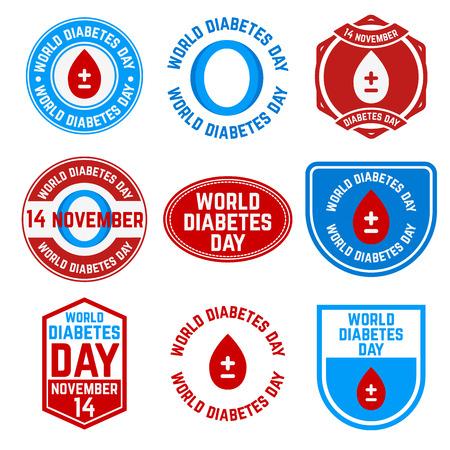 Conjunto de etiquetas de Día Mundial de la Diabetes y las divisas. 14 de noviembre. Peligro Diabetes. Ilustración del vector.