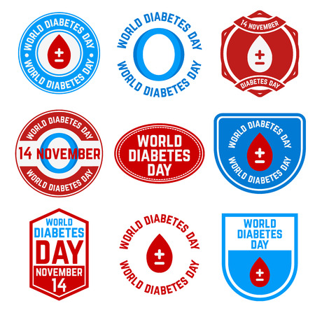 type: Set of World Diabetes Day labels and badges. 14 November. Diabetes danger. Vector illustration. Illustration