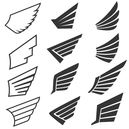 Wings set on white background. Heraldic wings. Element for logo,label and emblems design. Vector illustration.  イラスト・ベクター素材