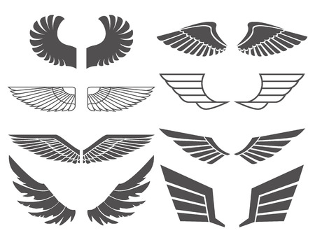 Wings set on white background. Heraldic wings. Element for logo,label and emblems design. Vector illustration. Vettoriali