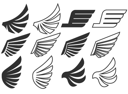 tatouage ange: Wings set on white background. Heraldic wings. Element for ,label and emblems design. Vector illustration.