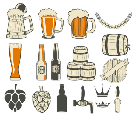 beer label generator. Set of beer icons and design elements. Vector illustration. Ilustracja