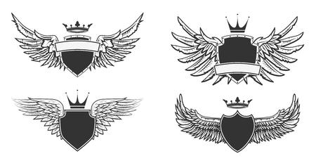 medievales: Escudo de armas con las alas. plantilla de dise�o her�ldico. Ilustraci�n del vector. Vectores