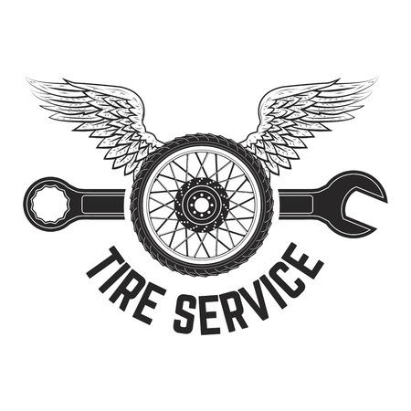 vintage etiket: tire service vintage label. Logo, label or emblem template. Vector illustration.