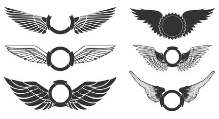 흰색 배경에 설정 배너 날개. 전 령 날개. 로고, 라벨 및 엠블럼 디자인 요소입니다. 벡터 일러스트 레이 션. 일러스트