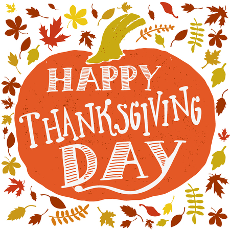 Happy Thanksgiving day. Vector greeting card.  Vector illustration. Vettoriali