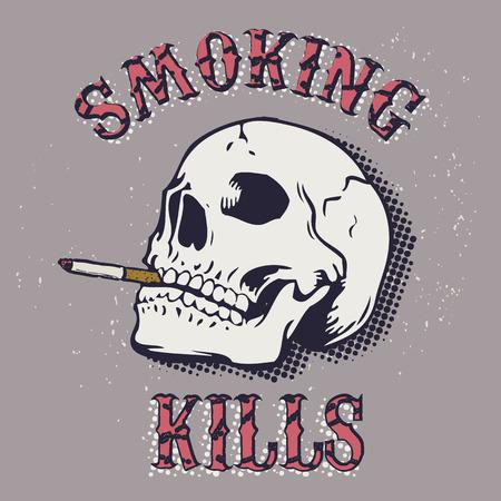 brandweer cartoon: Roken is dodelijk. Schedel met een sigaret op een grunge achtergrond. Internationale Dag tegen het roken. Vector illustratie.
