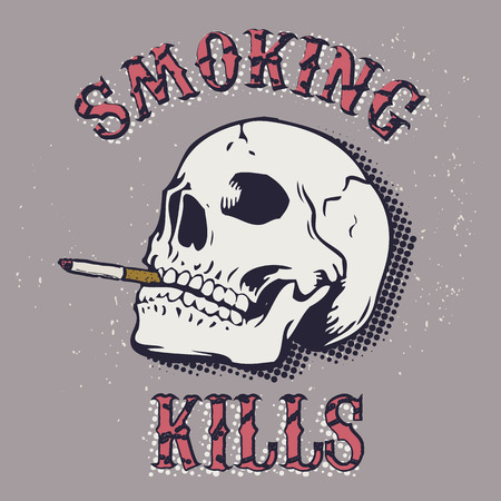 Smoking kills. Skull with a cigarette on a grunge background. International Day against smoking. Vector illustration. Illustration