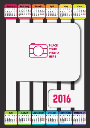 week: Calendar for 2016. Week Starts Monday. Vector calendar template. Illustration