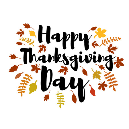 Happy Thanksgiving day. Vector greeting card.  Vector illustration. Illustration