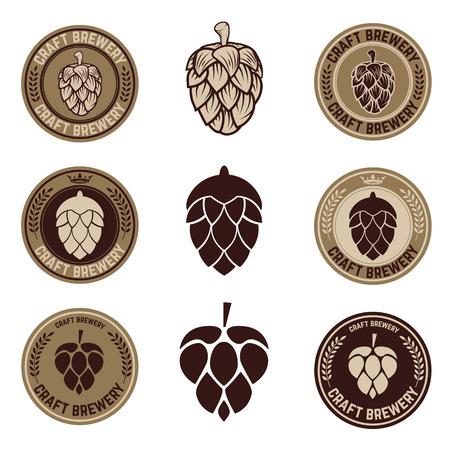 Set of Hop craft beer sign symbol label element. Label,emblem or badge template. Vector illustration.