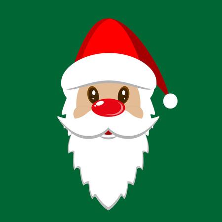 Santa Claus icon. Santa Claus face. Christmas card template. Vector illustration