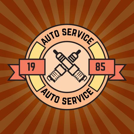 auto service: Auto service label on sunburst background. Vector illustration.