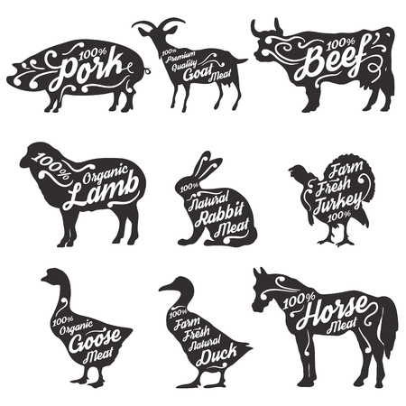 Set of farm animals silhouettes with sample text. Retro styled farm animals silhouettes collection for groceries, meat stores, packaging and advertising. Vector illustration..