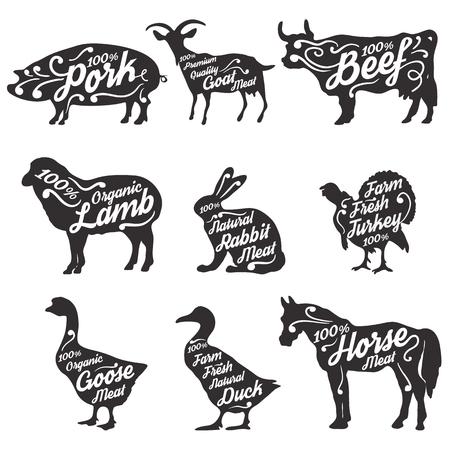 carnicería: Conjunto de animales de granja siluetas con texto de ejemplo. Animales de granja de estilo retro siluetas colección de abarrotes, tiendas de carne, envases y publicidad. Ilustración vectorial ..