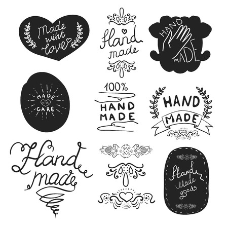 """Set van """"Hand Made"""" labels met voorbeeld tekst. Vector illustratie."""