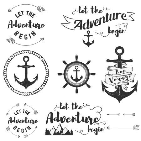 begin: Set of travel labels. Let the adventyre begin. Bon voyage. Anchors. Vector label templates. Illustration