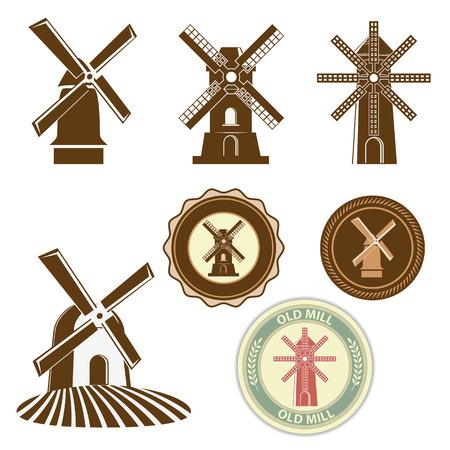 molinos de viento: Conjunto de molinos de vectores. Etiquetas y bages plantilla de diseño. Ilustración del vector. Vectores