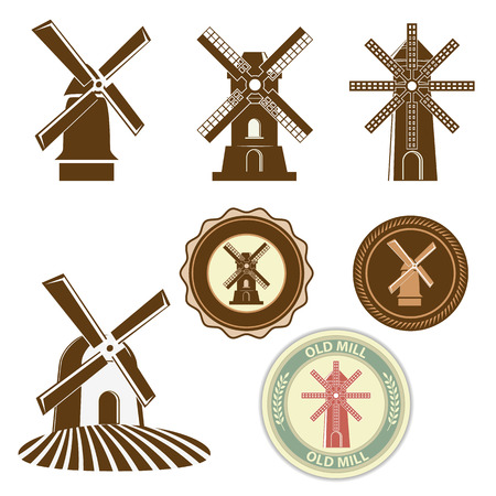 Set of vector mills. Labels and bages design template. Vector illustration.