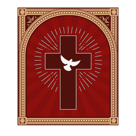 dove: Santo Espíritu. Paloma en la cruz. Espíritu Santo. Ilustración del vector.