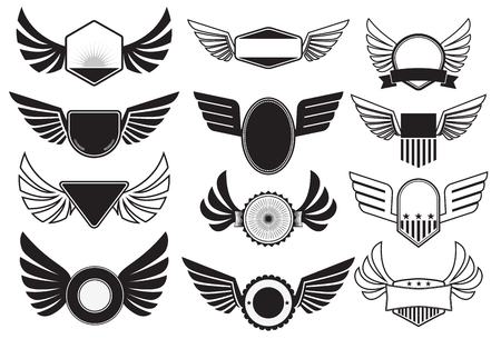 shield wings: Set of emblems with wings. Retro emblems design template. Vector illustration.