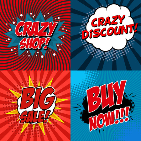 discount: Banner flyer pop art comic Crazy shop, crazy discount, Big Sale, Buy Now, discount promotion. Vector illustration. Illustration