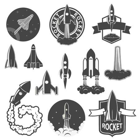 ロケット、ベクトルのラベルをセットします。宇宙船シルエット コレクション。ラベル ・ エンブレムのデザイン テンプレートです。Vectordesign 要素