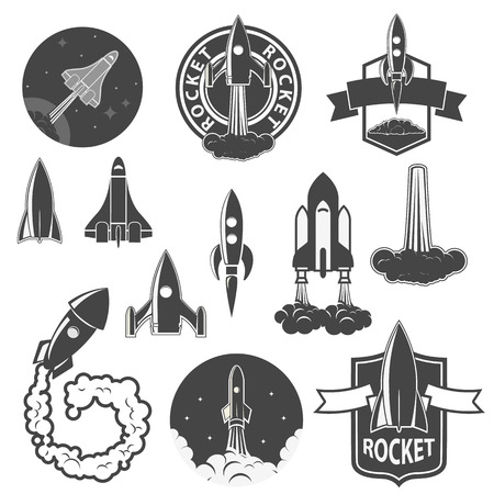 Set of the vector rockets labels. Spaceships silhouettes collection. Label and emblem design template. Vectordesign elements. 일러스트