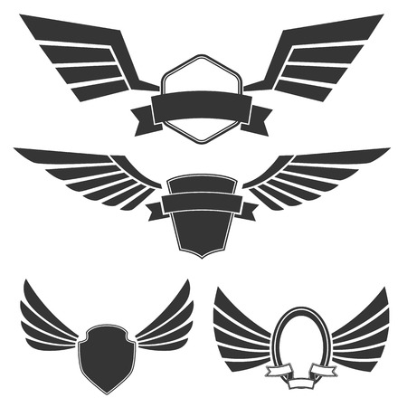wings bird: Wings with banners set on white background. Heraldic wings. Element for logo,label and emblems design. Vector illustration.
