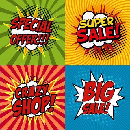 バナー ・ フライヤー ・ pop アート コミック クレイジー ショップ、クレイジー割引、大売り出し、今すぐ購入、割引による販売促進。ベクトルの図