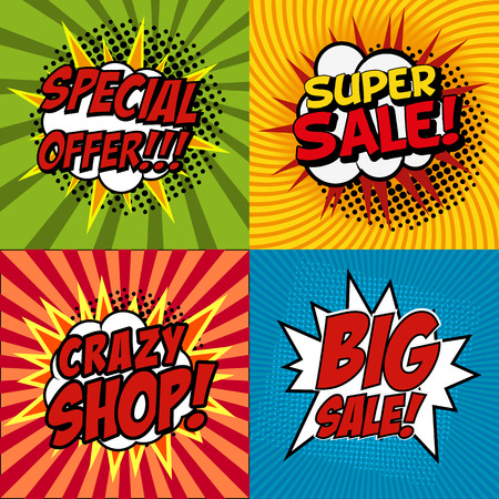 Banner flyer pop art comic Crazy shop, crazy discount, Big Sale, Buy Now, discount promotion. Vector illustration. Illustration