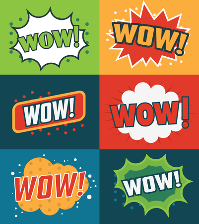 Set of Wow! Comic Text. Vector illustration