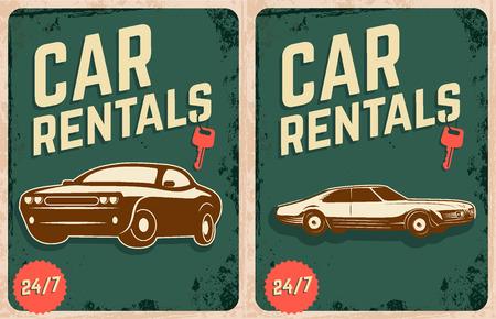 rentals: Car rentals poster design templates with retro cars. Retro car on grunge background. Vector illustration.