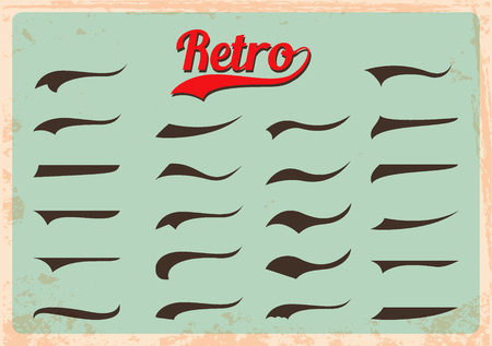 retro party: Set of calligraphic elements for decor inscriptions in retro style. Splashes for retro style inscriptions. Vector illustration.