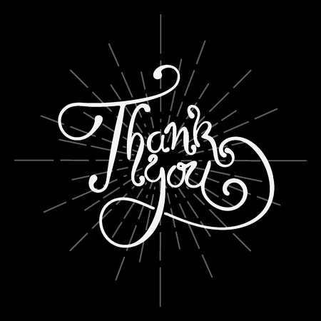 thanks: THANK YOU hand lettering - handmade calligraphy. Writing Thank you on black background. Vector illustration.