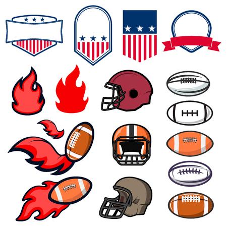 bannière football: Définir des emblèmes de football américain et des éléments de conception. Emblème, étiquette ou modèle de conception de badge.